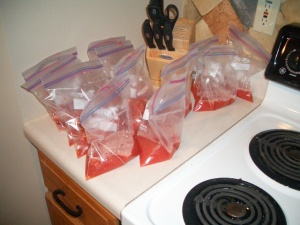 6 bags of juice and 6 bags of tomatoes